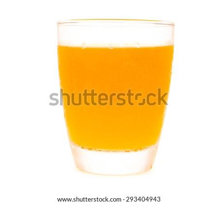 orange juice glass isolated on write backgruond - stock photo