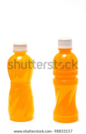 Orange Juice in a Bottle Isolated on White - stock photo