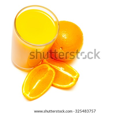 Orange juice in a glass and oranges isolated on white background - stock photo
