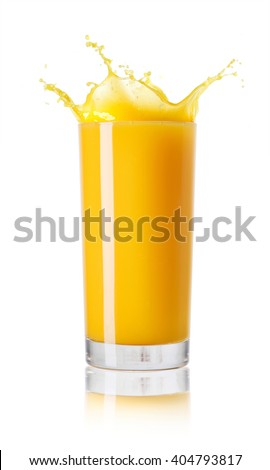 Orange juice in a glass on white background - stock photo