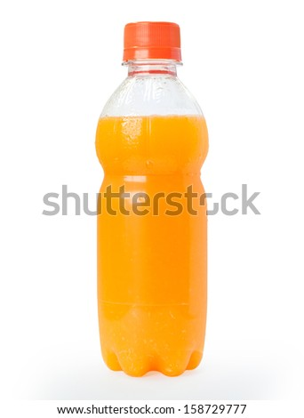 Orange juice in a plastic bottle isolated on a white background. - stock photo