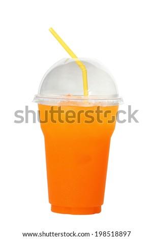 Orange juice on white background.  - stock photo