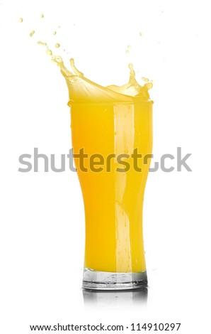 orange juice splash isolated on a white background - stock photo