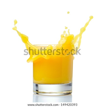 Orange juice splash on a white background. - stock photo