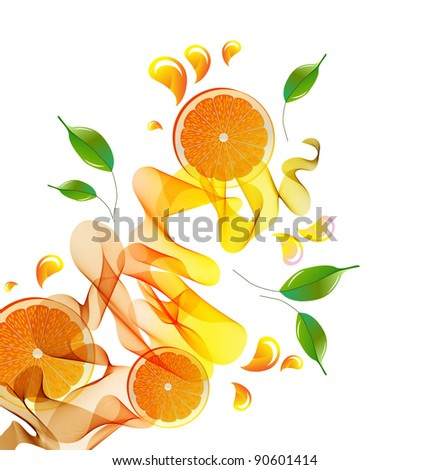 Orange juice splash with abstract wave and leaves - stock photo