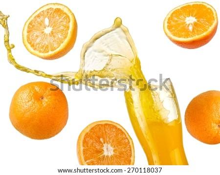 Orange juice splash with fruits - stock photo