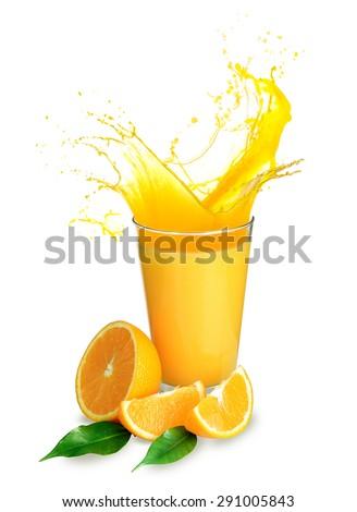 Orange juice splashes isolated on white - stock photo