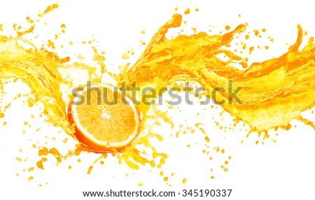Orange juice splashing with its fruits isolated on white background - stock photo