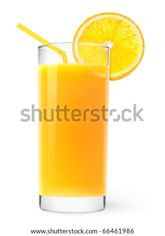 Orange juice with slice of orange isolated on white - stock photo