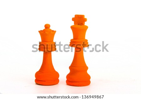 Orange king and queen symbolise the crowning of the dutch king and queeen - stock photo