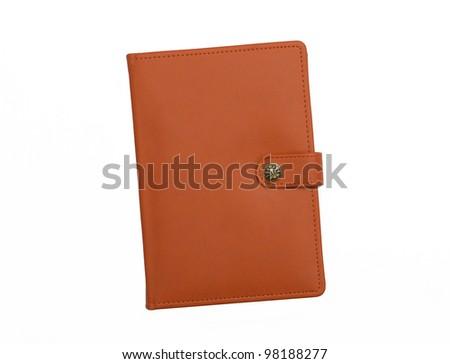 Orange leather journal notebook diary isolated on white background - stock photo