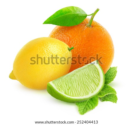 Orange, lemon and piece of lime over white background, with clipping path - stock photo