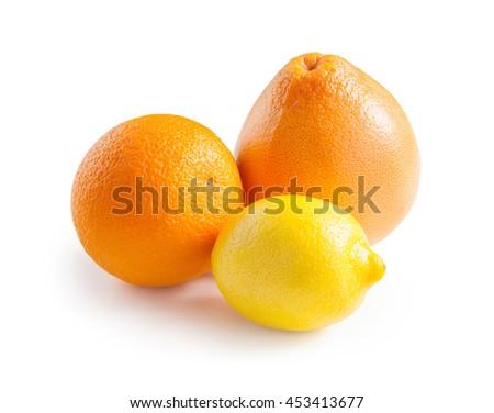 Orange. Lemon. Grapefruit. Ripe orange, grapefruit and lemon isolated on white background - stock photo