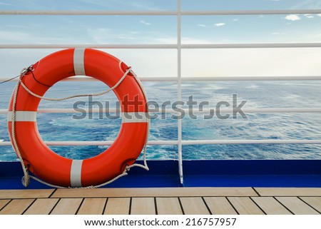 orange life vessel - stock photo