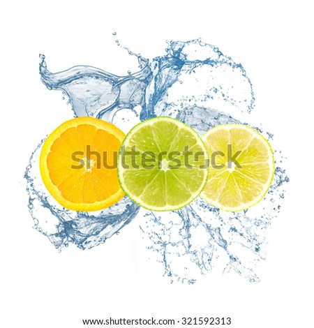 Orange, lime, lemon water splash - stock photo