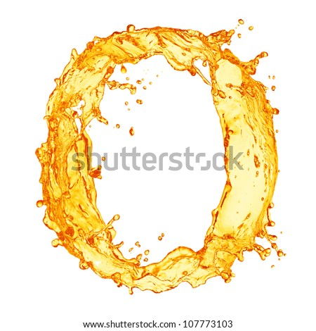 Orange liquid splash alphabet - stock photo