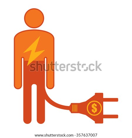 Orange Low Battery Businessman With Dollar Currency Cash Power Cable Infographics Flat Icon, Sign Isolated on White Background - stock photo