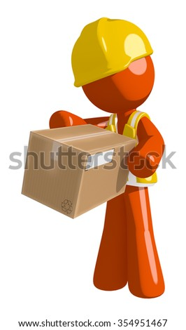 Orange Man Construction Worker  Box Delivery - stock photo