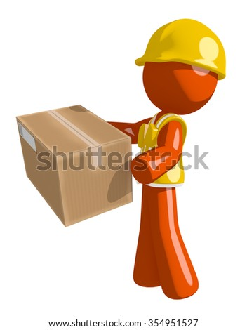 Orange Man Construction Worker  Delivering a Package - stock photo