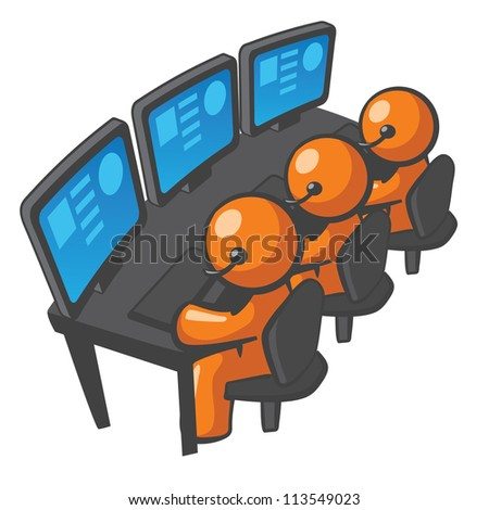 Orange Man phone support or telemarketing, local or outsourced. It really is quite diverse. It can also be a programming or website maintenance concept. - stock photo