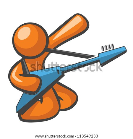 Orange Man with blue electric guitar, in a guitar solo hero pose. - stock photo