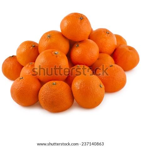 orange mandarines heap isolated on white background - stock photo