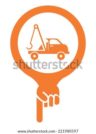 Orange Map Pointer Icon With Tow Car, Roadside Assistance Service Sign Isolated on White Background  - stock photo
