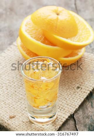 orange marmalade with orange slices on wooden ,orange mandarin jam. - stock photo