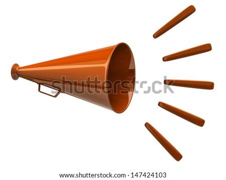 Orange megaphone icon isolated on white background - stock photo