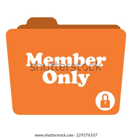 Orange Member Only Folder With Lock Sign Icon Isolated on White Background  - stock photo
