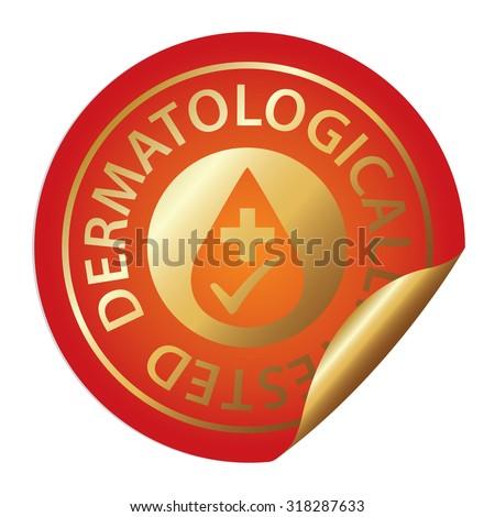 Orange Metallic Dermatologically Tested Infographics Peeling Sticker, Label, Icon, Sign or Badge Isolated on White Background  - stock photo