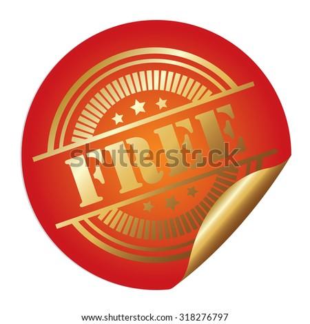 Orange Metallic Free Infographics Peeling Sticker, Label, Icon, Sign or Badge Isolated on White Background  - stock photo