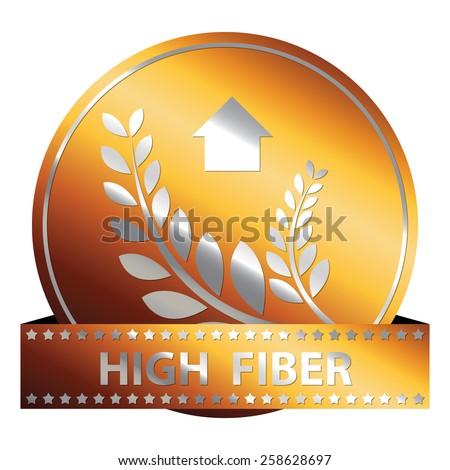 Orange Metallic High Fiber Ribbon, Icon, Sticker, Banner, Tag, Sign or Label Isolated on White Background - stock photo