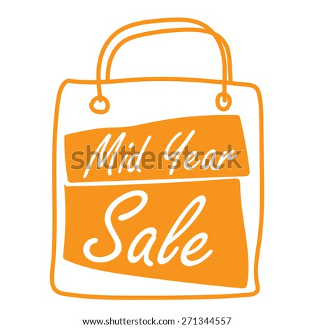 Orange Mid Year Sale Shopping Bag Label, Banner, Sign or Icon Isolated on White Background - stock photo