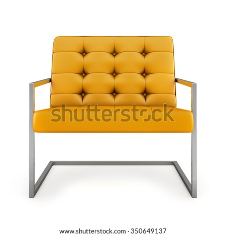 Orange modern armchair isolated on white background 3D rendering  - stock photo