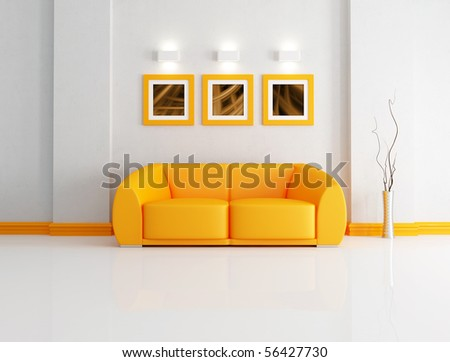 orange modern sofa in a white living room-rendering- the art pictures on wall are my composition - stock photo