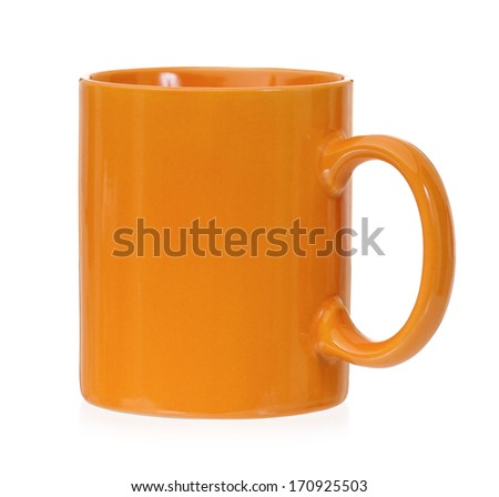 Orange mug empty blank for coffee or tea, isolated on white background - stock photo