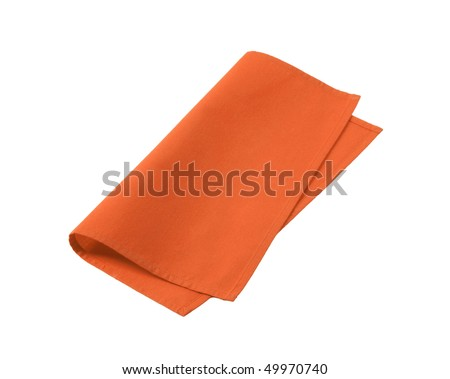 orange napkin - stock photo
