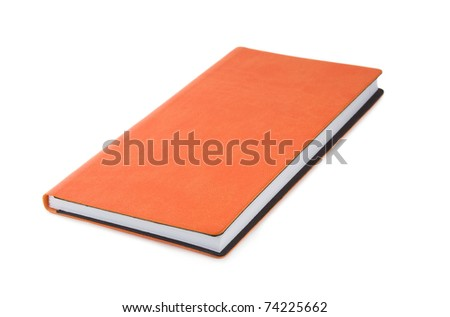 Orange office notebook isolated over white - stock photo