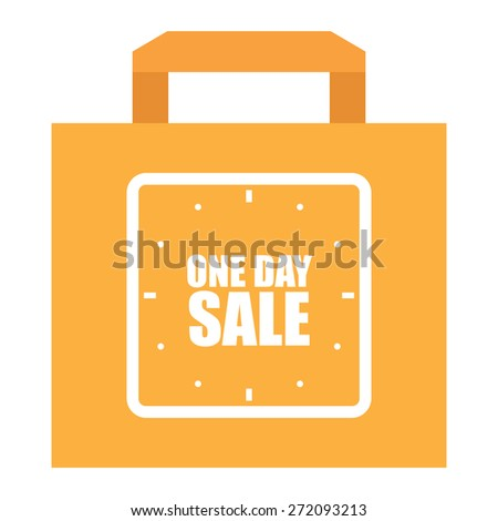 Orange One Day Sale Shopping Bag, Label, Sign or Icon Isolated on White Background - stock photo