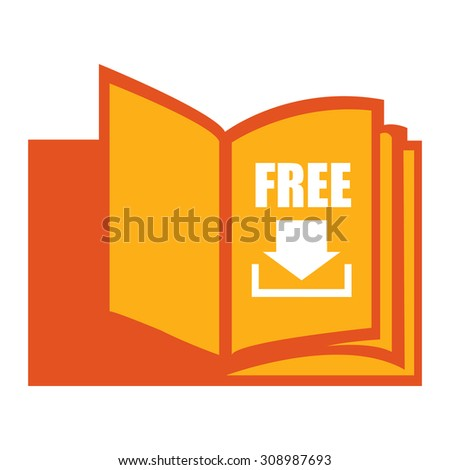 Orange Open Book With Free Download Infographics Flat Icon, Sign Isolated on White Background - stock photo