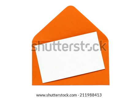 orange open enveloped with blank card - stock photo