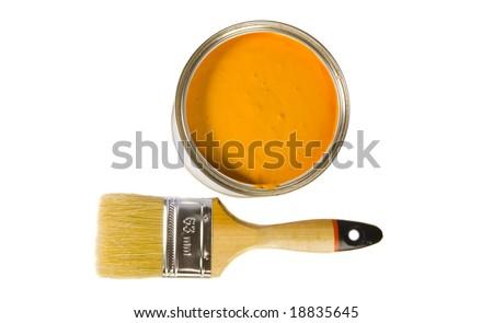Orange paint and brush on white ground - stock photo