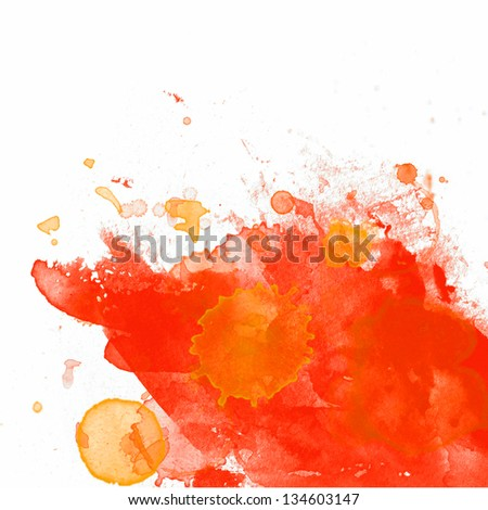 Orange paint on white, abstract Painting - stock photo
