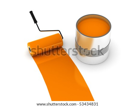 Orange paint. Roller and steel can isolated on white background. High quality 3d render. - stock photo