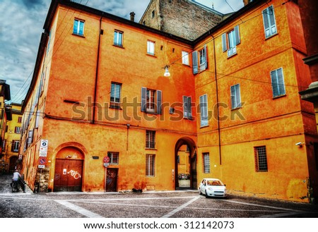 orange palace in Bologna in hdr tone mapping effect, Italy - stock photo