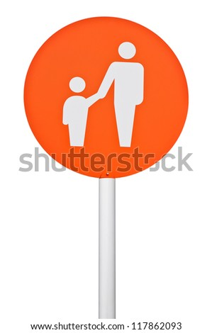 orange parent and child parking sign on post pole (isolated on white background) - stock photo