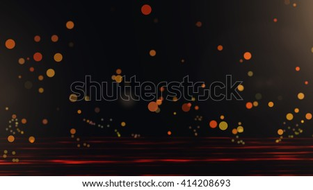 Orange particle falling on floor,Light ray effect. - stock photo