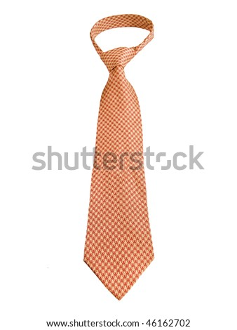 Orange Patterned Tie Isolated On White Background - stock photo