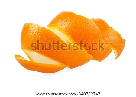 Orange peel against white background - stock photo